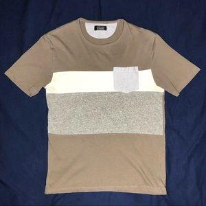 Zara Color Block Textured Cotton T-Shirt